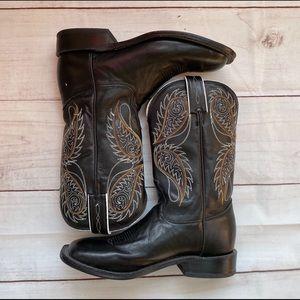 Tony Lama Western Black Stallion Square Toed Boots